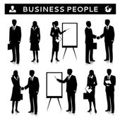 Flipcharts with business people silhouettes talking handshaking and collaborating vector illustration
