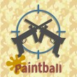 Постер, плакат: Paintball guns and splash poster