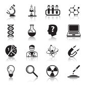 Chemistry or biology science icons set of test tube light bulb atom and pipette for school education isolated vector illustration