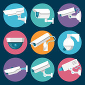 Digital CCTV multiple security cameras color stickers set isolated vector illustration