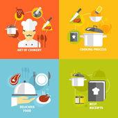 Vaření ikony plochý
