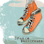 Colored funky hanging gumshoes skateboard fashion sneakers grunge style background vector illustration