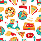 Fast food pizza delivery 24h ingredients seamless pattern vector illustration