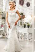 The beautiful  woman posing in a wedding dress