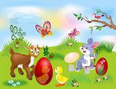 Ilustrace Velikonoční zajíček malovat vajíčka
