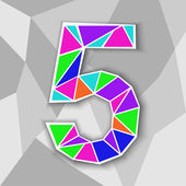 Colorful number 5 Figure of geometric shapes Vector illustration