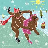 Dva hnědí medvědi bruslařů vtipné ilustrace skated.vector