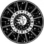 Постер, плакат: Zodiac sign and constellations Horoscope circle Black and white