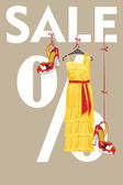 The composition of Yellow silk party dress and high heeled shoesThey hang on the tapes on the letters sale and the percent sign Vector design template