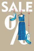 The composition of blue silk party dress and high heeled shoesThey hang on the tapes on the letters sale and the percent sign Vector design template