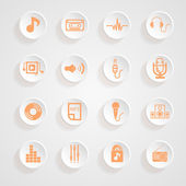 Music  set   Icons button shadows  vector set