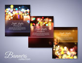 Set of holiday backgrounds with place for text Abstract bright photo realistic blurred bokeh lights This vector illustration can be used as greeting card