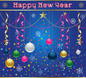 New Years Celebration image with holiday ornaments streamers snowflakes and confetti