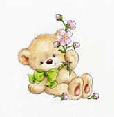Medvídek s květinami