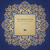Vector frame in Victorian style on dark blue background Baroque ornate element and place for text Golden ornamental pattern and traditional decor