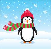 Osamělý tučňák na sněhu