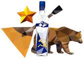 Simbolismo russo. orso, stelle, balalaica, vodka isolato su sfondo bianco