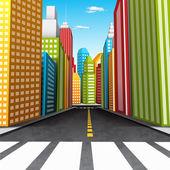 Vector illustration of cartoon city