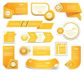 Set of orange vector progress version step icons eps 10