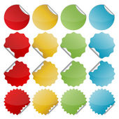 Set of blank colorful bended seals stickers for website