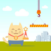 Character winner with a medal colorful flat Cat male stands near the crane on the street holding a award
