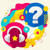 Headphones and question mark on abstract colorful splashes background with different icon and elements Flat design for the web print banner advertising