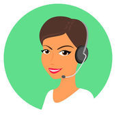 Female call centre operator with headset Round icon