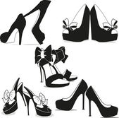 Silhouettes of women's shoes on a white background Vector shoes