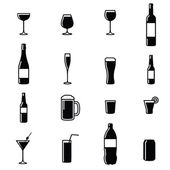 Set Of Sixteen Drinks Black  White Silhouette Vector Illustrations