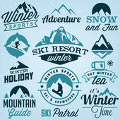 Collection of Winter Sports Badges and Labels Vector Design Elements in Vintage Style