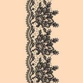 Vertikale nahtlose Muster schwarz Spitze