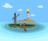 Businessmen sailing towards dollar lighthouse Profit Seeking concept