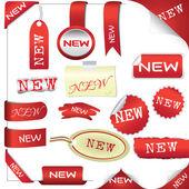 Sada červených prvků pro nové položky