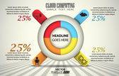 Vector template 3d of 4 pieces cloud computing element infographic