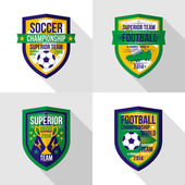 Bright soccer world championship  emblem in flat style