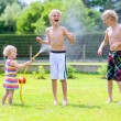 Постер, плакат: Group of happy children playing in the garden with watering hose