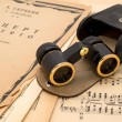 Постер, плакат: Opera glasses with case on an ancient music score