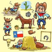 Cartoon cowboy hand drawn set of comic characters