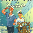 Постер, плакат: Nautical poster with happy crew
