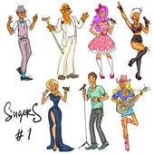 Singers Hand drawn collection of artists representing different music styles