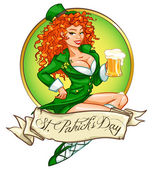Pretty leprechaun girl with beer St Patrick's Day logo design with space for text isolated