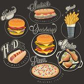 Set di simboli per gli alimenti e titoli calligrafici. pizza, panino, hot dog, patatine fritte, hamburger, cheeseburger e coscia illustrazioni realistiche