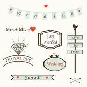 Stylish wedding elements logos labels symbols text vectorbox diamond birds heart vector