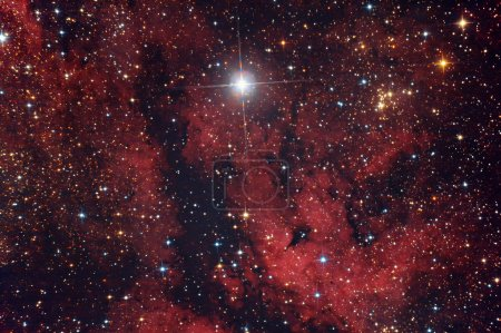 Постер, плакат: Red nebula in Cygnus constellation, холст на подрамнике