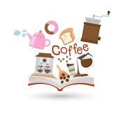 Open book and icons of coffee and tea Concept of education