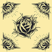 Roses and Frame Oldskool Tattoo style design set 02