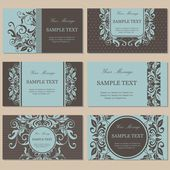Set of six floral vintage business cards invitations or announcements
