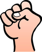 Close up of a male hand with clenched fist making a rising fist sign or salute