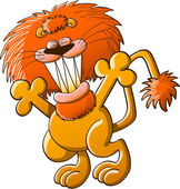 Cool lion with a great orange mane and sharp teeth while stretching its body raising its arms grinning and clenching its eyes in a nice attitude of welcoming