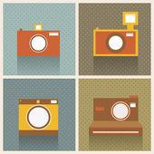 Flat Retro Photo Cameras Vector Background